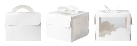 Boîte d'emballage cadeau vide avec maquette de poignée pour Cake. Isolé sur fond blanc.
