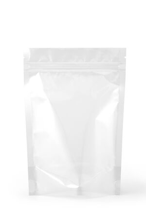 Transparent plastic zipper bag packaging. Isolated on white background. Standard-Bild