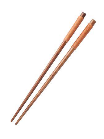 Palillos de madera aislado sobre fondo blanco. Foto de archivo