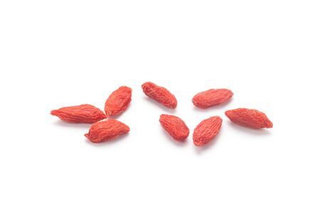 Dried goji berries (Chinese wolfberry) isolated on white background 스톡 콘텐츠