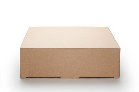 Brown cardboard box isolated on white background