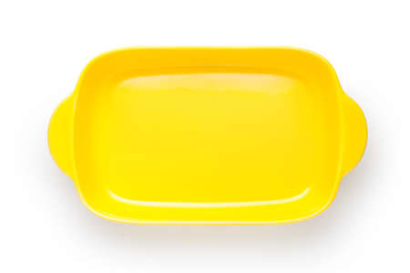 Empty yellow bowl isolated on white background, Top view. 스톡 콘텐츠