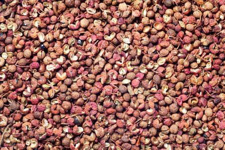 sichuan pepper (zanthoxylum bungeanum), Chinese prickly ash. food background.