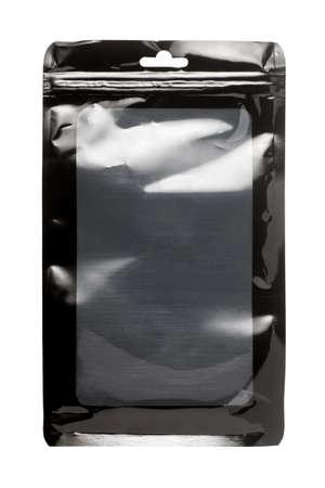Black plastic packaging bag on white background 版權商用圖片
