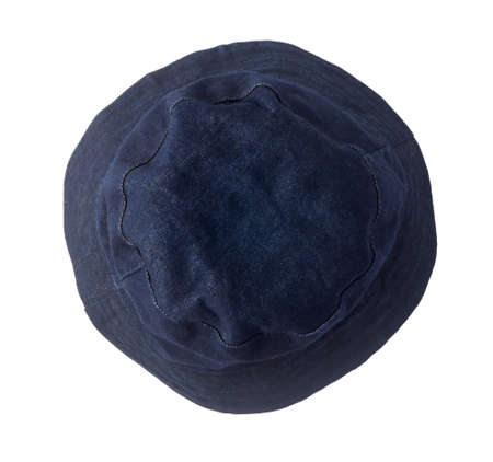 Denim hat isolated on white background. Top view.