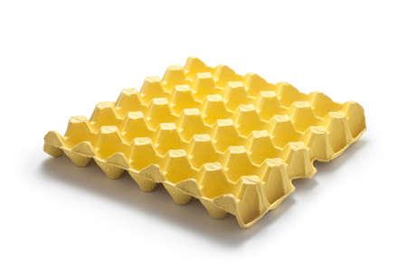 Empty egg tray isolated on white background