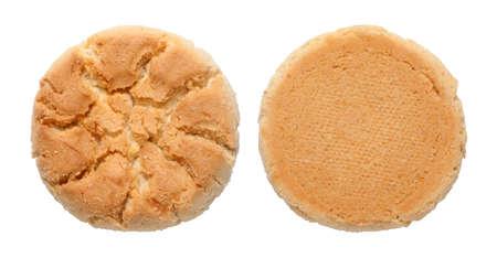 Walnut cake or crisp biscuit isolated on white background 版權商用圖片