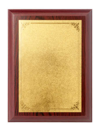 Wood plaque with gold plate isolate on white background