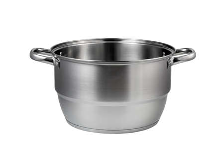 Stainless steel pot isolated on white background.