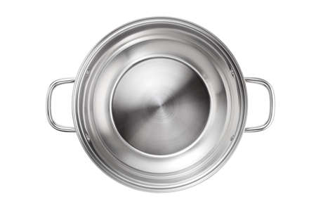 Stainless steel pot isolated on white background. Top view. 版權商用圖片