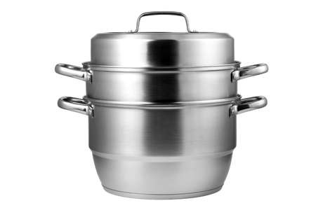 Stainless steel steamer isolated on white background. Kitchenware.