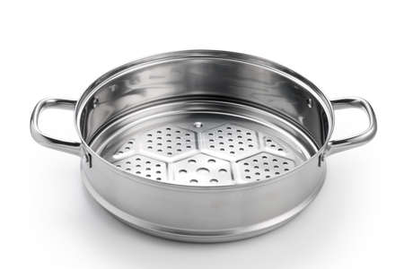 Stainless steel steamer tray isolated on white background. Kitchenware.