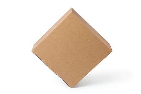 Brown cardboard box isolated on white background. 版權商用圖片