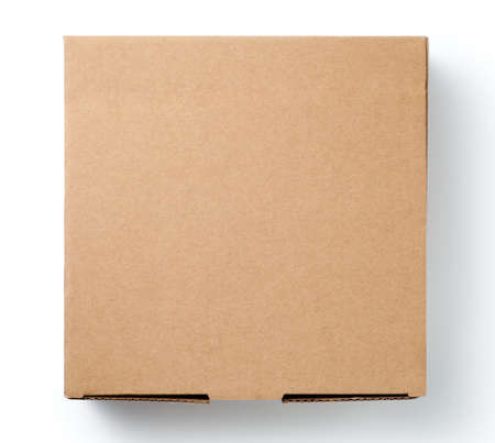 Brown cardboard box isolated on white background. Top view. Stock Photo