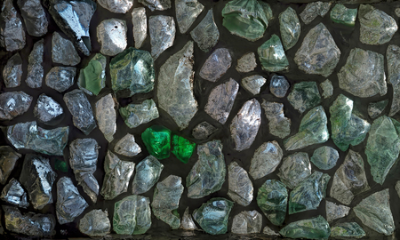 colored window: Homemade window of colored glass stones.Waste from the glass factory.