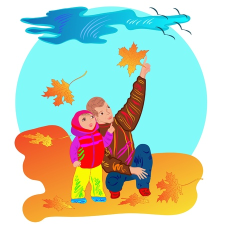 grownup: autumn scene with child, grown-up and maple leaves