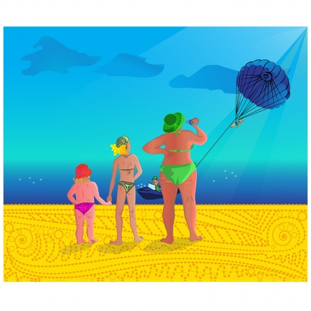 boatman: three ladies at sea with parasailing on background