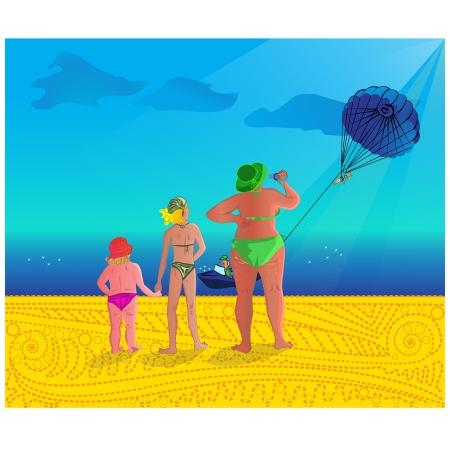 flecks: three ladies at sea with parasailing on background