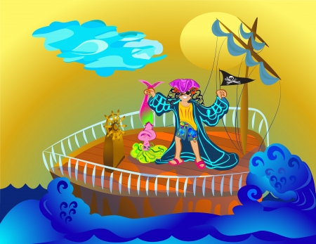 pirate boy with mermaid in the sea Stock Vector - 18958866