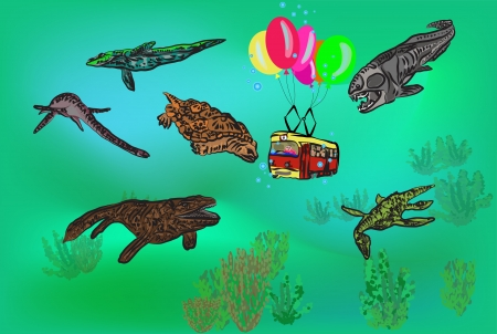tramway with passengers under water with ancient fishes  gradient mesh is used here