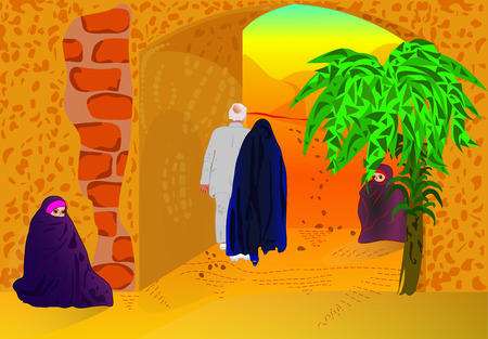 arabic woman and man walk through arch, two women sit nearby