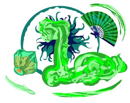 sky lantern: dragon vert avec le chinois voler lanterne de ciel et d'un ventilateur de main