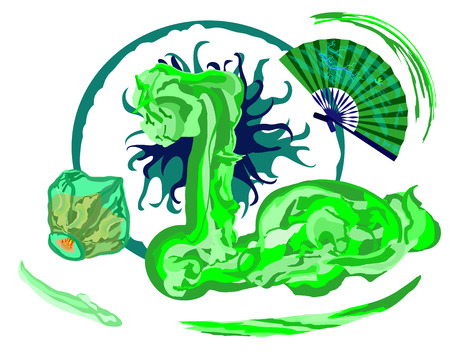 sky lantern: green dragon with Chinese flying sky lantern and hand fan
