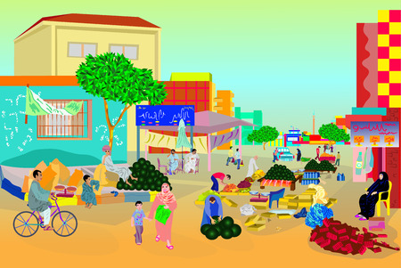 watermelon woman: arabic market life Illustration
