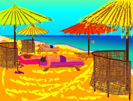 sunbathing: sunbathing couples lay on the beach under umbrellas Illustration