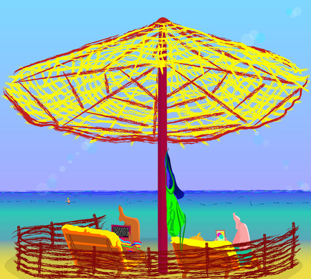 lay: guys lay under umbrella at the seaside Illustration
