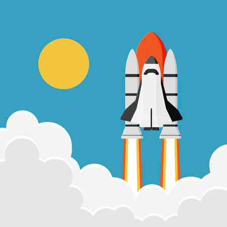 Space Shuttle Launch into the Sky : New Business Project Start Concept in Minimal & Vintage Design