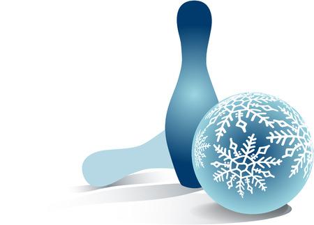 크리스마스 볼링 공과 두 개의 딸랑이 스톡 콘텐츠