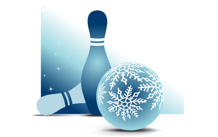 Bowling christmas ball with two skittles on blue background photo