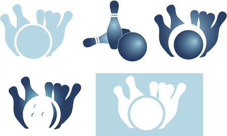 Set of bowling icon isolated on white background