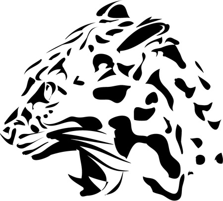 Isolated black panter on white background - vector illustration