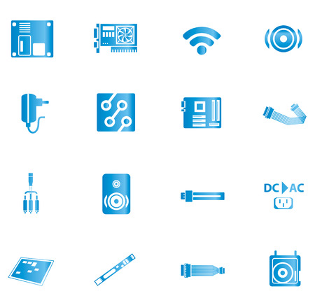 dc: Blue computer and accessories icon isolated on white background
