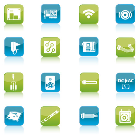 Blue and green computer and accessories icon isolated on white background photo