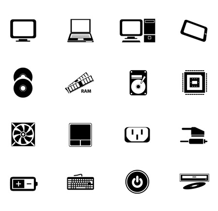 random access memory: Computer and accessories icon isolated on white background