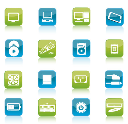 Green and blue computer and accessories icon isolated on white background photo