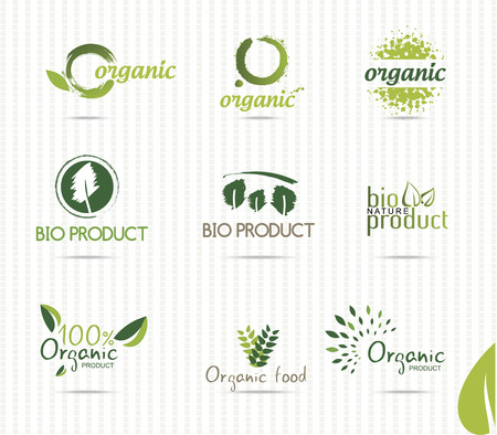 Set of green bio and organic badges and labels Vector