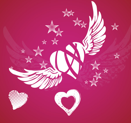 Hearts, wings and stars on red background photo