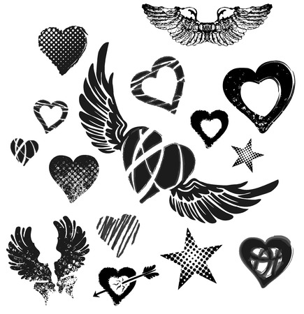 Hearts, wings and stars on white background, grunge, vector photo