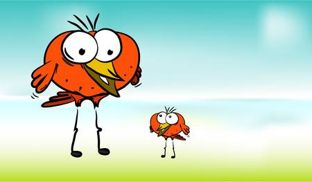Happy cartoon birds on color  photo