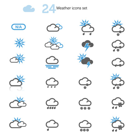 Weather Icons set on white 写真素材
