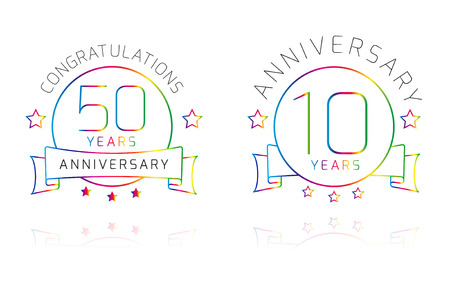 10th: 10 and 50 Years Anniversary label isolated on white