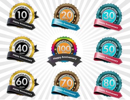Color anniversary sign collection, retro design, vector photo