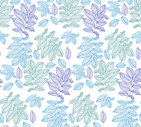 Seamless color pattern with leaves, vector background photo