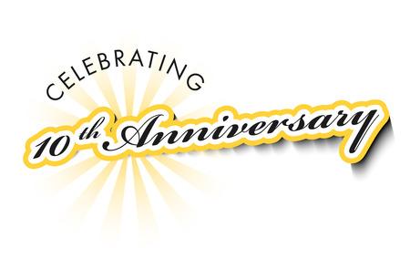 그림자와 함께 흰색에 고립 된 10 년 주년 기념 라벨