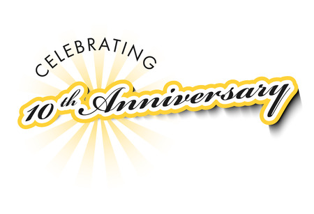 10 Years Anniversary  label isolated on white with shadow photo