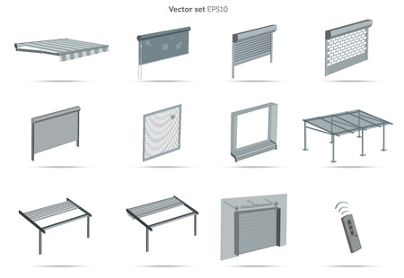 Collections of sunblinds on white background photo
